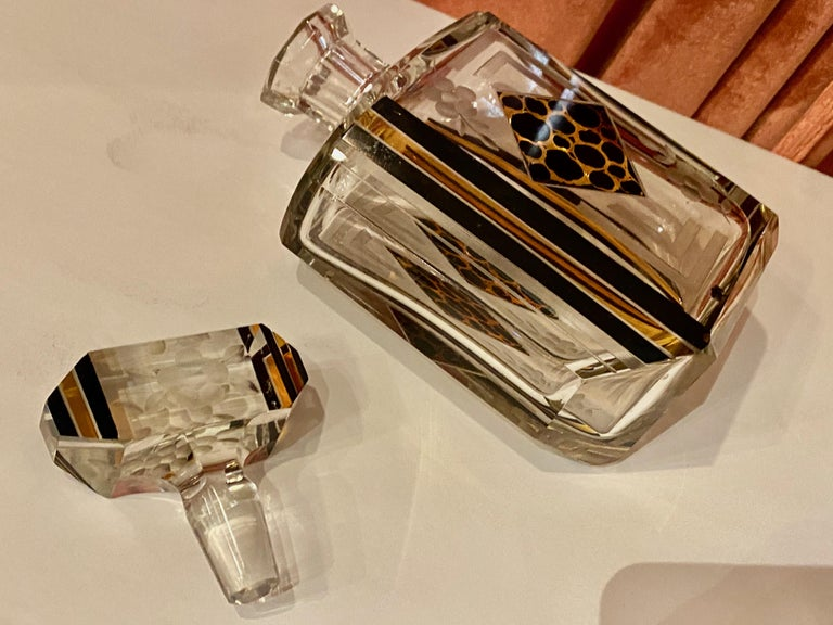 Art Deco Czech Decanter Glasses with Leopard Gold and Black Designs For Sale 3