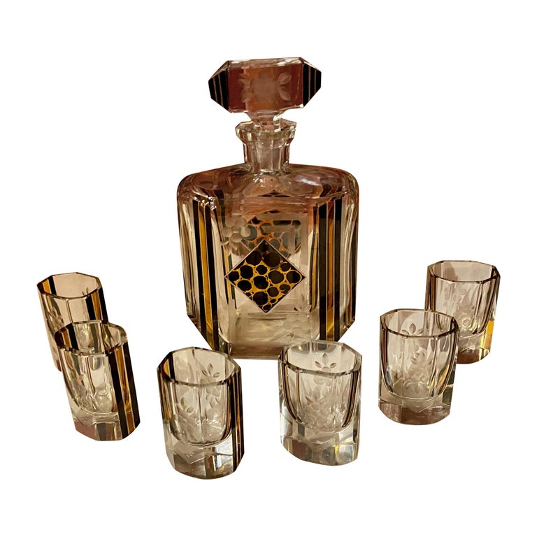 Art Deco Czech Decanter Glasses with Leopard Gold and Black Designs For Sale