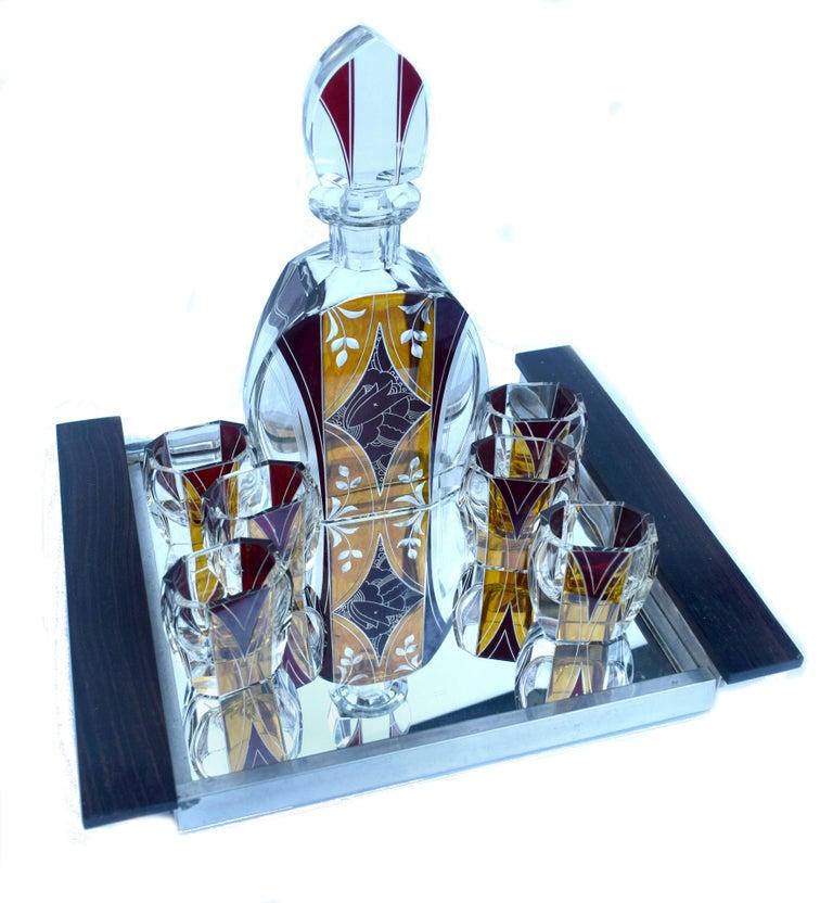 Art Deco Czech Decanter Set by Karl Palda In Good Condition For Sale In Devon, England
