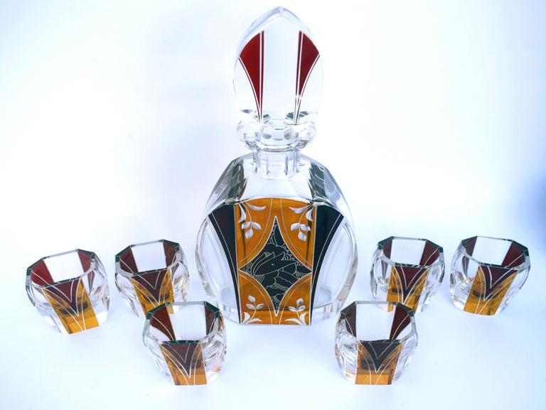 20th Century Art Deco Czech Decanter Set by Karl Palda For Sale