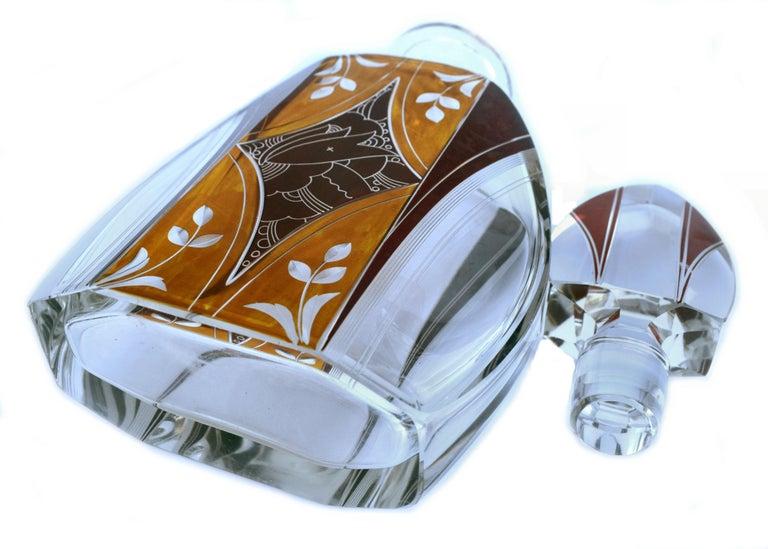 Cut Glass Art Deco Czech Decanter Set by Karl Palda For Sale