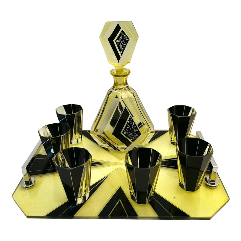 Art Deco Czech Enamel & Glass Decanter Set on Matching Tray For Sale