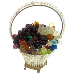 Art Deco Czech Fruit Basket Lamp with Murano Grapes