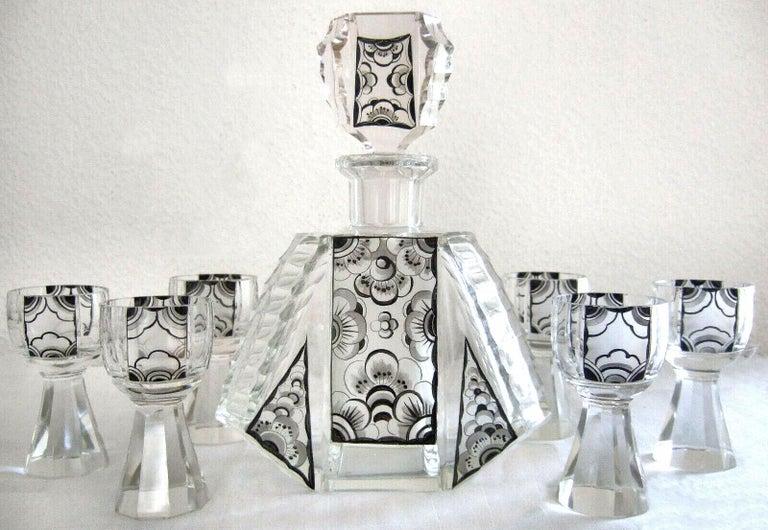 Art Deco Czech Geometric Crystal Glass Decanter Set by Karel Palda, circa 1930s For Sale 3