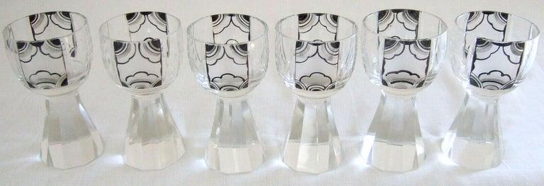Art Deco Czech Geometric Crystal Glass Decanter Set by Karel Palda, circa 1930s For Sale 5