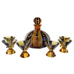 Art Deco Czech Glass Decanter Set and Glasses by Karl Palda, circa 1930