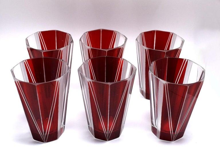 Art Deco Czech Glass Decanter, Set For Sale 6