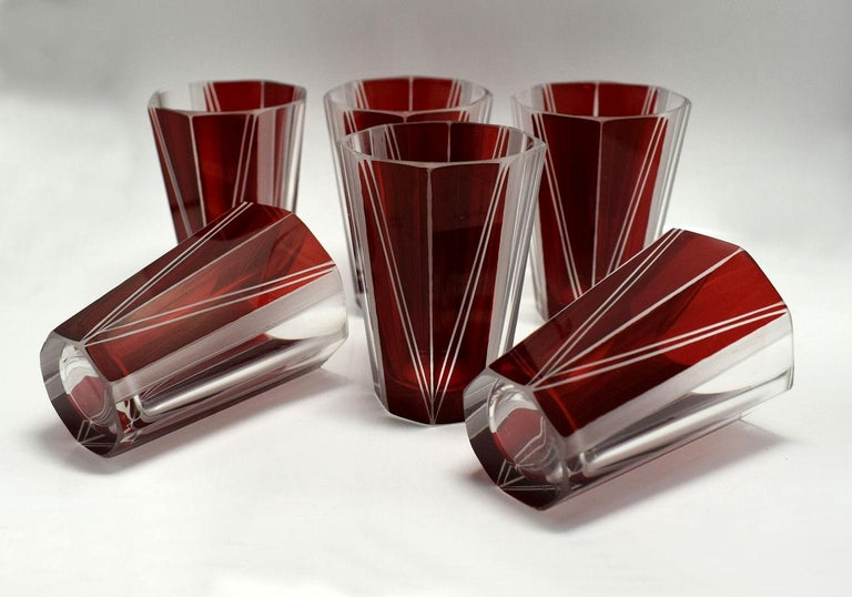 Art Deco Czech Glass Decanter, Set In Excellent Condition For Sale In Devon, England