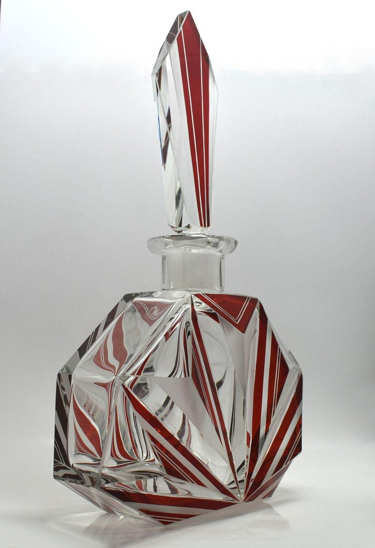 20th Century Art Deco Czech Glass Decanter, Set For Sale