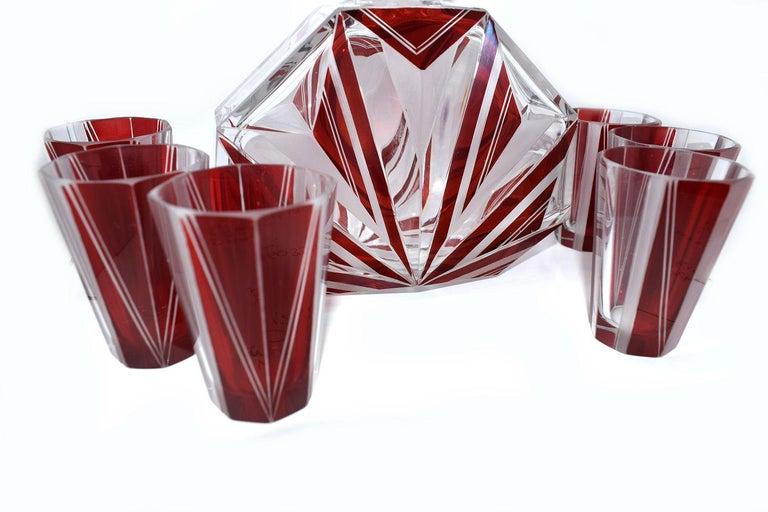 Art Deco Czech Glass Decanter, Set For Sale 4