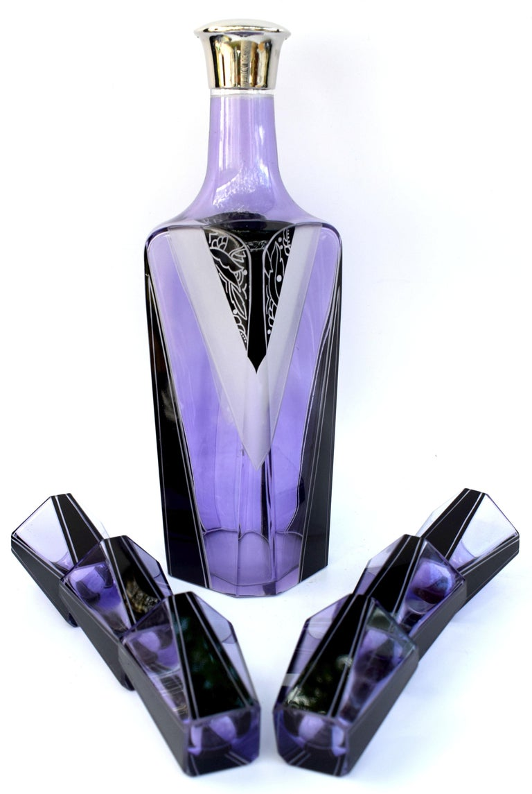 20th Century Art Deco Czech Glass Enamel Decanter Set For Sale