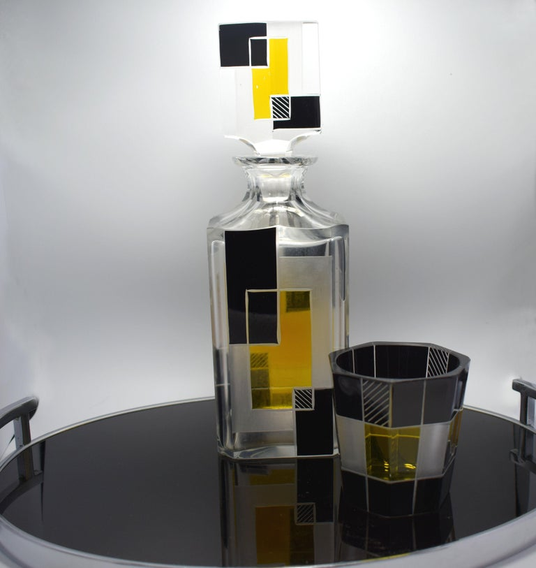 Art Deco Czech Glass Whisky Decanter Set In Good Condition For Sale In Devon, England