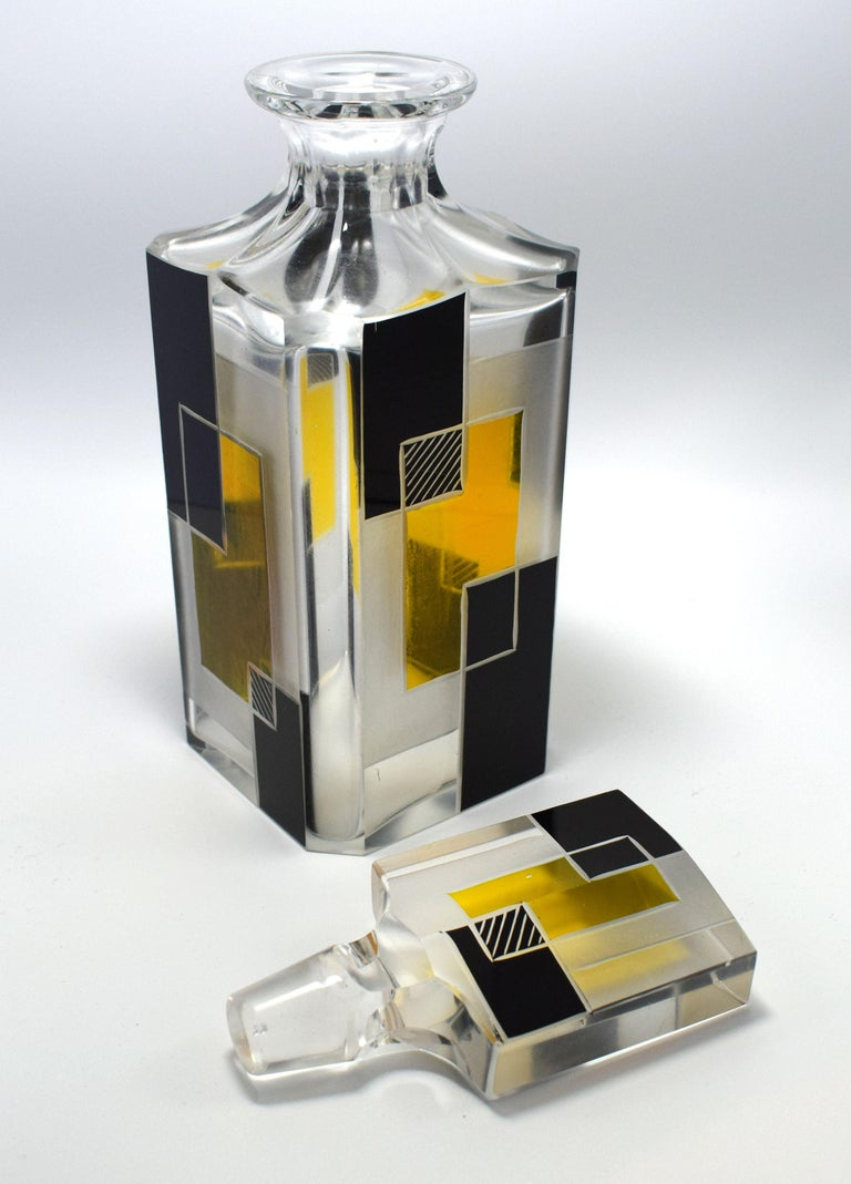 20th Century Art Deco Czech Glass Whisky Decanter Set For Sale