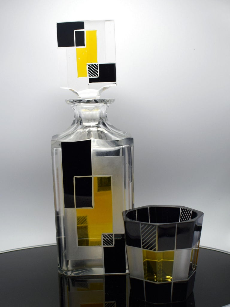 Art Deco Czech Glass Whisky Decanter Set For Sale 2
