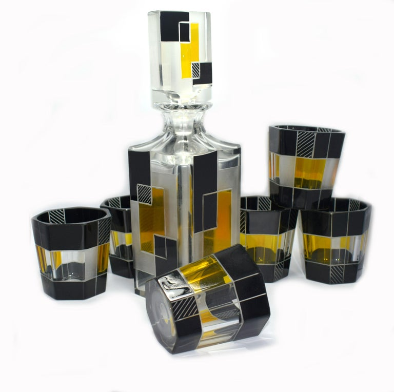 Art Deco Czech Glass Whisky Decanter Set For Sale 3