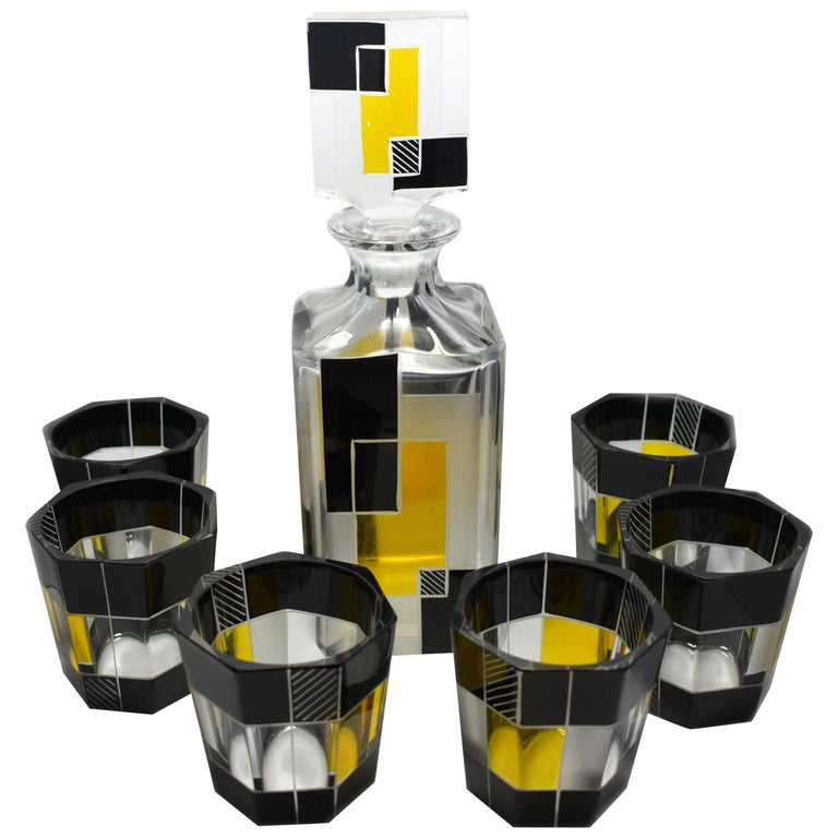 Art Deco Czech Glass Whisky Decanter Set For Sale