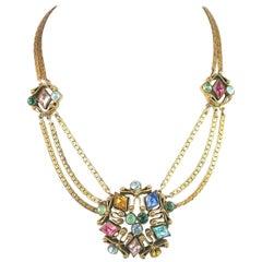 Art Deco Czech Jewel-Tone Crystal & Chain Necklace, 1920s