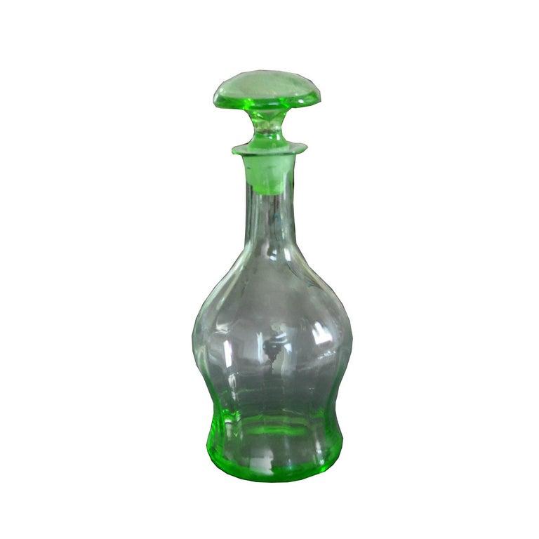 Art Deco Czech liqueur decanter bottle ,green colored  Good in original condition.