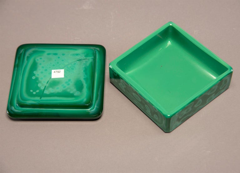 20th Century Art Deco Czech Malachite Glass Lidded Box For Sale