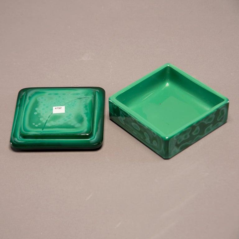 Art Deco Czech Malachite Glass Lidded Box For Sale 1