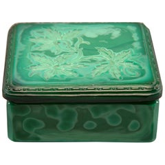 Art Deco Czech Malachite Glass Lidded Box