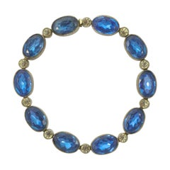 Art Deco Czech Silver Plated Blue and Clear Rhinestone Link Bracelet circa 1920s