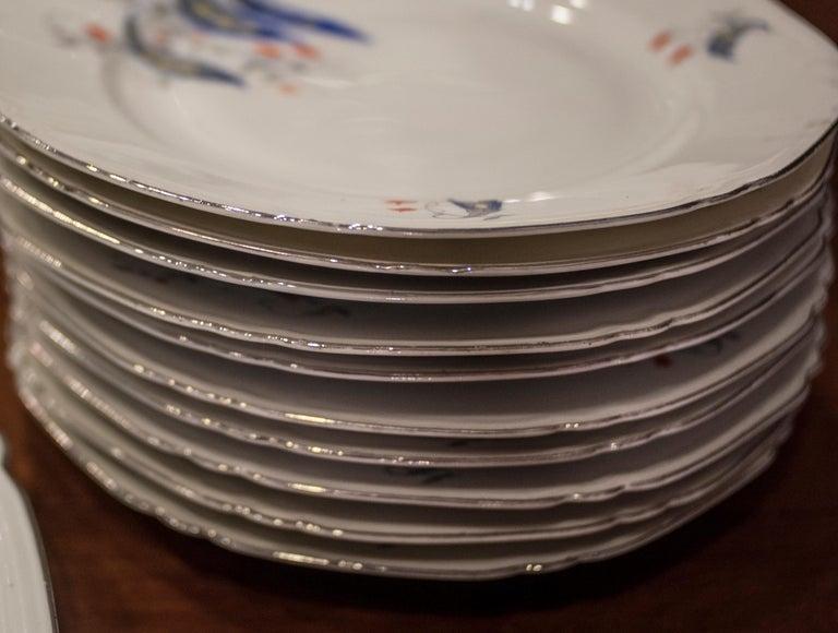 Art Deco Czechaslovakia Blueredjaune Porcelain 52 Pieces Tableware, 1930 For Sale 5