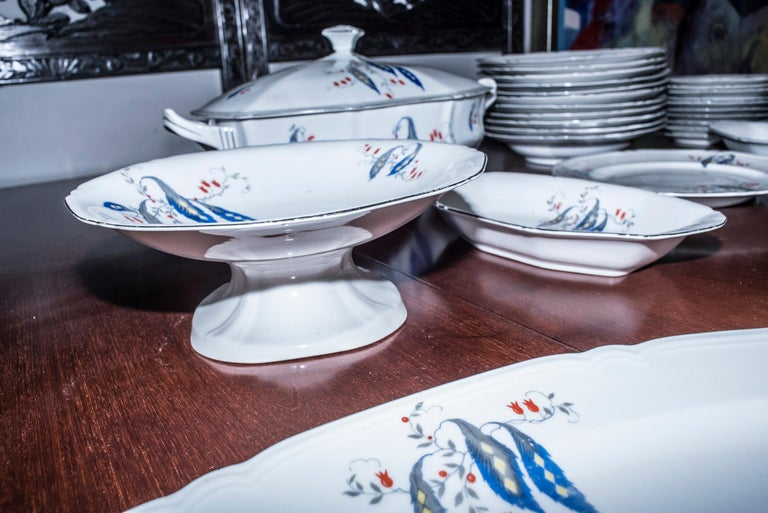 Art Deco Czechaslovakia Blueredjaune Porcelain 52 Pieces Tableware, 1930 For Sale 7