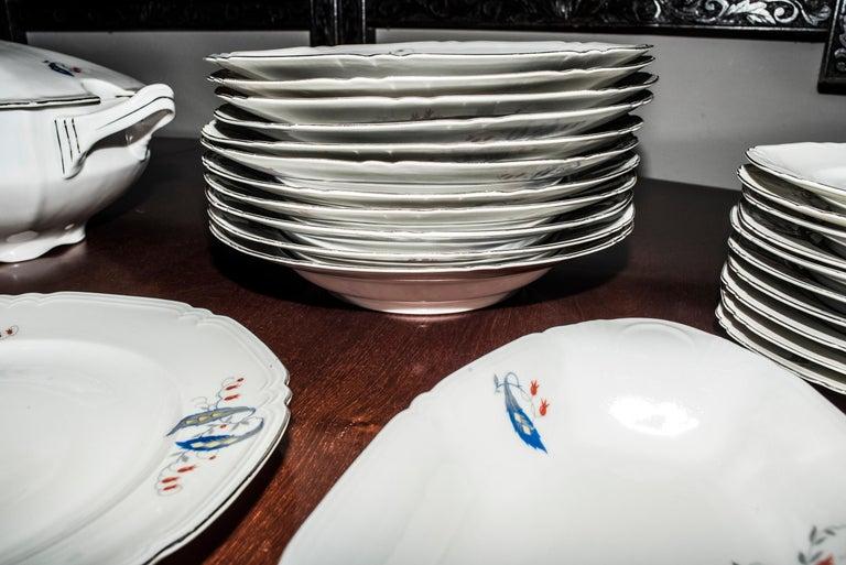 Early 20th Century Art Deco Czechaslovakia Blueredjaune Porcelain 52 Pieces Tableware, 1930 For Sale