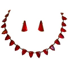 Art Deco Czechoslovakian Red Faceted Glass Necklace and Earring Set