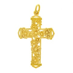 Art Deco Daisies Motif Gold Cross