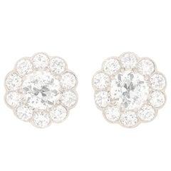 Art Deco Daisy Cluster Diamond Earrings, circa 1920s