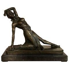 Art Deco Dancer Bronze Sculpture, France, 1930s