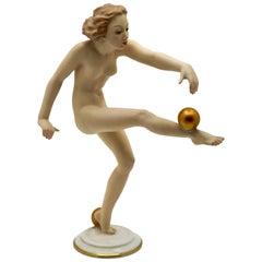 Art Deco Dancer/Gymnast Figurine by Carl Werner, Hutchenreuther, Germany, 1950s