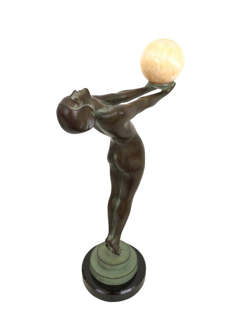 French Art Deco Dancer Sculpture Lueur with Onyx Ball Original Max Le Verrier France For Sale
