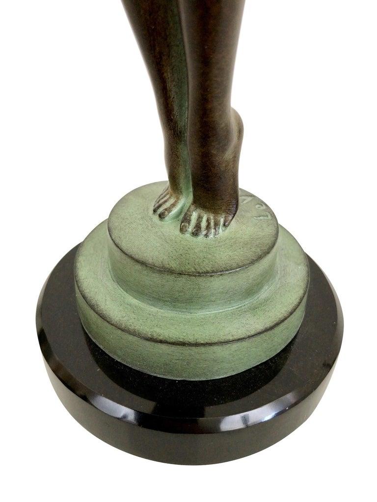 Contemporary Art Deco Dancer Sculpture Lueur with Onyx Ball Original Max Le Verrier France For Sale