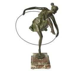 Art Deco Dancer with Hoop by Bruno Zach, Bronze on Marble Sculpture, ca 1925