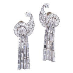 Art Deco Dangle Diamond Ear Clips, 8.00 Carat
