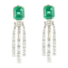 Art Deco Style Earrings 18 Karat Gold Emeralds and Round and Baguette Diamonds