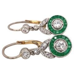 Art Deco Dangle Emerald Diamonds Platinum Gold Earrings