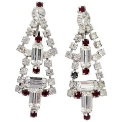 Art Deco Dangling Clip On Earrings in Silver, Red and Clear Crystal