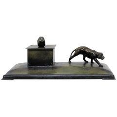 Art Deco Danish Bronze Leopard Inkwell by H.F. Ildfast