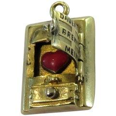 "Art ""Deco Dauernd Brennt Mein"" Movable Wood Stove Enamel Gold Love Charm Pendant"