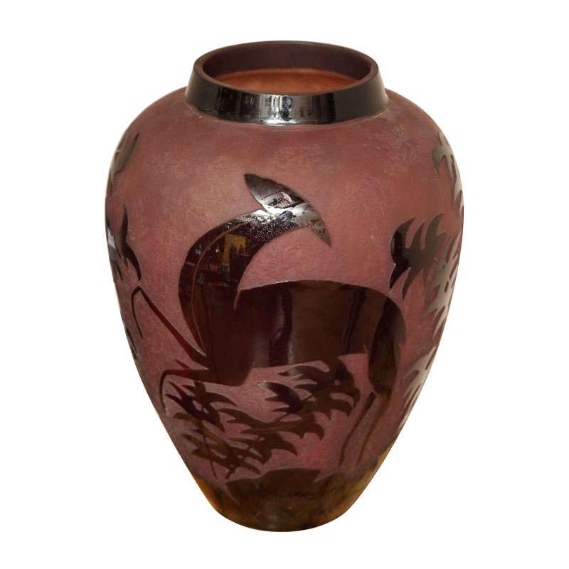 Art Deco Daum Nancy Large Decorative Vase