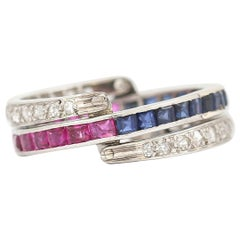 Art Deco Day and Night Ruby, Sapphire and Diamond Ring, Circa 1930