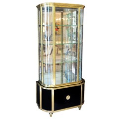 Art Deco De Coene Freres Brass Vitrine Curio Cabinet with Glass Shelves