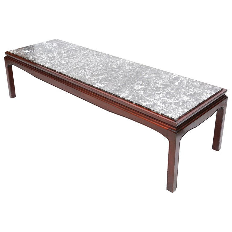 Art Deco De Coene Mahogany and Marble Coffee Table For Sale