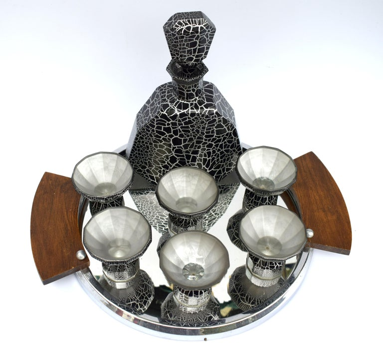 Art Deco Decanter Set by Moser, Czech, circa 1930 In Excellent Condition For Sale In Devon, England