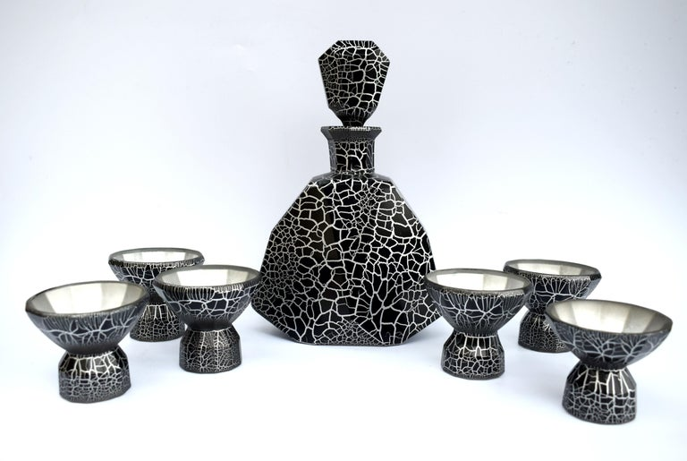 20th Century Art Deco Decanter Set by Moser, Czech, circa 1930 For Sale
