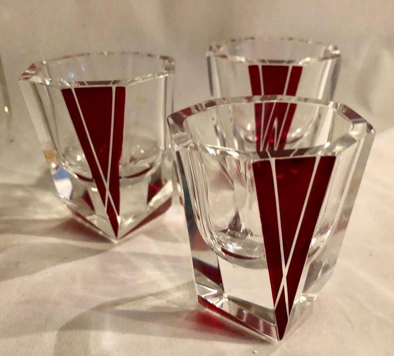 Art Deco Decanter Set in Red and Clear Czech Crystal In Good Condition For Sale In Oakland, CA